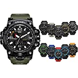 KAUO Herren Sportuhr Military Sportuhr 50M Wasserdicht Uhren für Männer Gummi LED Armbanduhr Stoßfest Casual Armbanduhr Quarz Uhren