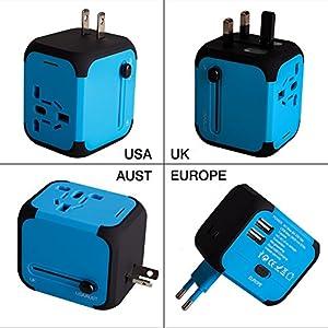 viajes: Adaptador Enchufe de Viaje Universal Dos Puertos USB para US EU AU de 150 Países