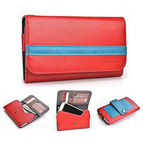 Kroo Universal Mobile Phone Cover Wallet fits Karbonn Titanium X / Octane in Ruby Red & Electric Blue