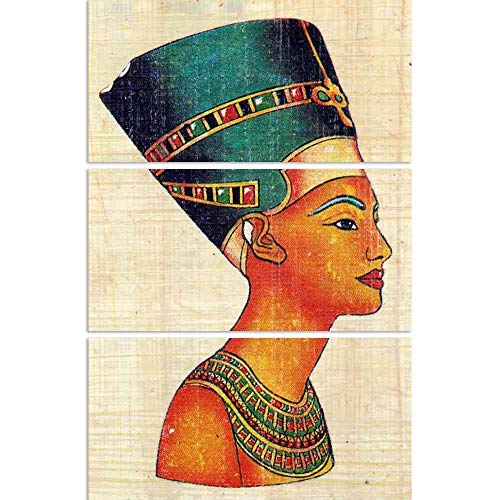 ArtzFolio Queen Nefertiti On Papyrus Split Art Painting Panel On Sunboard 20.8 X 31.2Inch (Queen-size-split-box)