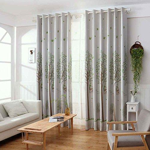 meisijia Vögel Bäume Gedruckt Vorhang Blackout Drop Vorhang Panel für Tür Fenster Schlafzimmer Garn mit Haken (Ein Panel-grau-vorhänge)