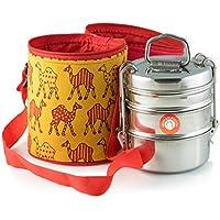 3 Deckel Große Tiffin mit thermisch getrennten camel ausgelegt Blatt Gemusterte Tiffin Taschenträger