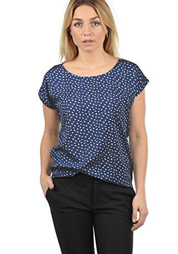 Blend She Amarena Damen Lange Bluse Kurzarm mit U-Boot Ausschnitt und Verschiedene Prints Loose Fit, Größe:M, Farbe:Peacoat Dot (14021) (Rundhals-bluse)