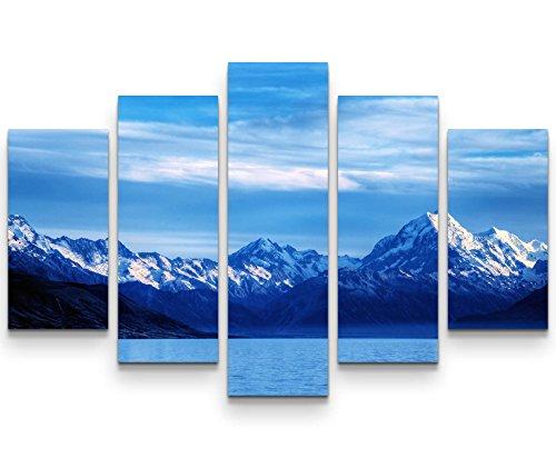 Eau Zone Wandbild auf Leinwand 160x100cm Gletschersee mit Bergen im Hintergrund