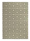Andiamo 1100381 Webteppich Flachgewebe Louisville modernes Dreick Muster Natur, 160 x 230 cm, grün