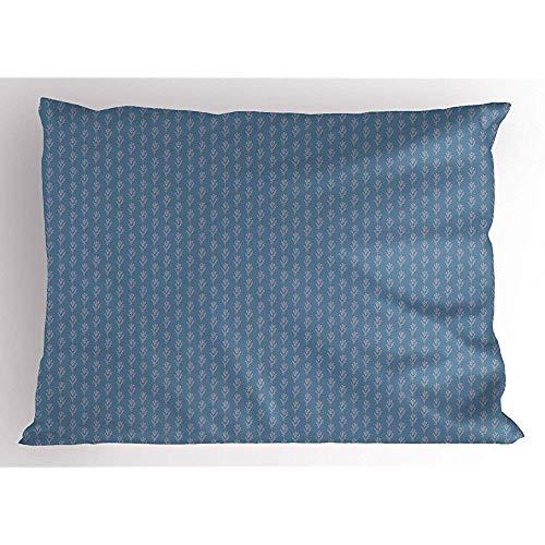 Botanische Kräuter (2 Stück Sommer Frühling Pillow Sham,kontinuierliche botanische Kräuter romantische symmetrische Anordnung,dekorative Standardgröße gedruckt Kissenbezug,36 x 20,blau grau und blass Fuchsia)