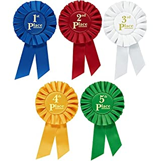Clinch Star Rosette Premium Award Ribbons 1st 2nd 3rd 4th 5th Place Set Multipurpose for Ceremonies and Events 6 Inch