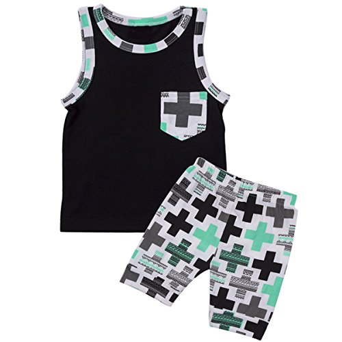 Puseky Kids Baby Boys Outfits Sleeveless Vest Tops + Shorts Summer Clothes Set (6-9 Months, Black+Green)