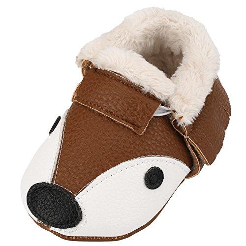Sibba Lauflernschuhe Babyschuhe Krabbelschuhe, mit weichem Leder für Mädchen und Jungen (6-12 Monate, braun (winter))