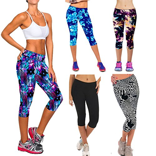 CHIC-CHIC Femme Leggings de Sport Haut Taille Fleurs Imprimées Yoga Pantalon Elastique Sport Running Fitness