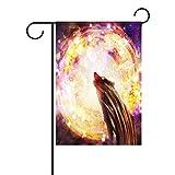 ALAZA Universo Galaxy espacio lobo decorativo jardín bandera poliéster para casa jardín...