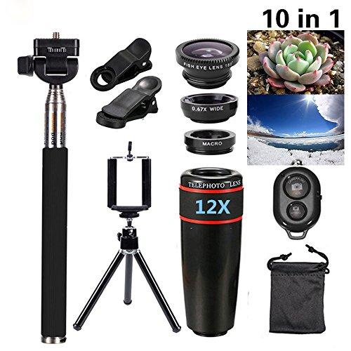 Fotocamera lente kit, Elecguru 10in 1mini kit lente 12x teleobiettivo + Fish Eye + obiettivo grandangolare + obiettivo macro selfie stick monopiede + telecomando Bluetooth + mini treppiede per iPhone 4S 5C 5S 5SE 66S Plus HTC LG XC311