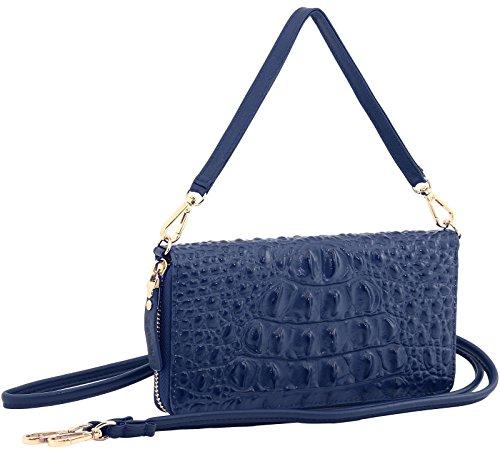 StilGut Smart Wallet in pelle - elegante clutch, portafoglio, custodia per smartphone e borsa a tracolla, Blu Scuro Nappa Blu croc style