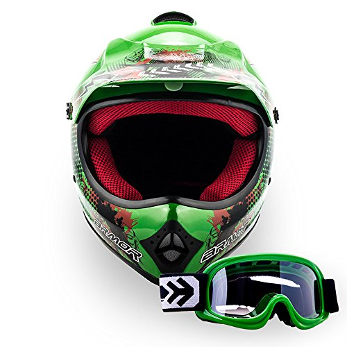 "Armor · AKC-49 Set ""Green"" (green) · Casco Moto-Cross · Racing motocicleta Quad NINOS Off-Road Scooter Enduro · DOT certificado · Click-n-Secure™ Clip · Bolsa de transporte · XL (59-60cm)"