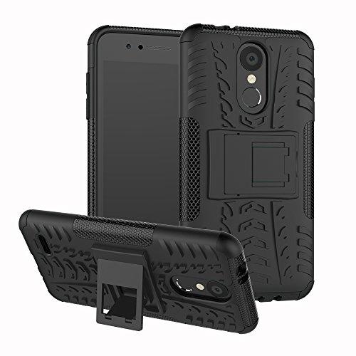Sunrive Hülle Für LG K9, Schutzhülle Etui Case Cover Hybride Silikon Stoßfest Handyhülle Zwei-Schichte Armor Design Tasche mit schlagfesten mit Ständer Slim Fall(Schwarz)