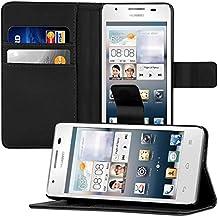 kwmobile Funda para Huawei Ascend G510 - Wallet Case plegable de cuero sintético - Cover con tapa tarjetero y soporte en negro