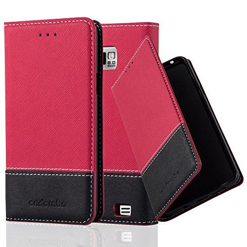 Preisvergleich Produktbild Cadorabo Hülle für Samsung Galaxy S2 / S2 Plus - Hülle in ROT SCHWARZ – Handyhülle mit Standfunktion und Kartenfach aus Einer Kunstlederkombi - Case Cover Schutzhülle Etui Tasche Book