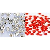 Lot de 4000 confettis diamants pour décoration de table - Assortiment Argent/Rouge - 4.5mm