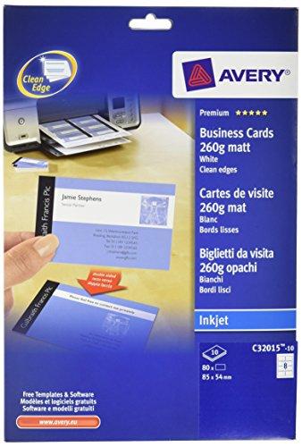 Avery italia c32015-10 biglietto da visita patinati, stampabile fronte/retro, confezione da 25 pezzi, bianco