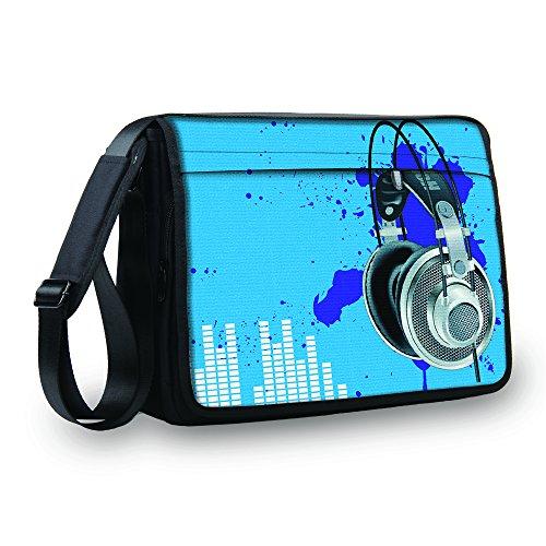 MySleeveDesign Messenger Bag Laptoptasche Notebooktasche mit Tragegurt - Tasche für Laptop & Notebook der Größen 13,3 Zoll / 14 Zoll / 15,6 Zoll / 17,3 Zoll - VERSCH. Designs - Blue Sound - 17