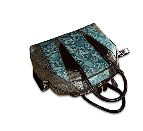 DJB/Leder Damen Tasche Damen Erste Schicht Leder geprägt Laptop Messenger Bag Blau
