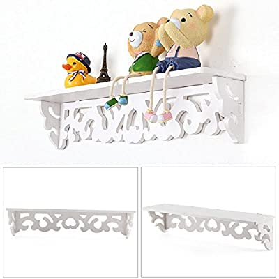 AllRight 2 Pcs White Chic Shelves Filigree Style Shelf Wall Shelf Storage Cut Out Design