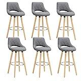 WOLTU 6er Set Barhocker Barstuhl Tresenhocker Bistrohocker Design Hocker, Sitzfläche aus Leinen, Holzgestell, mit Fußstütze, Dunkelgrau, BH111dgr-6