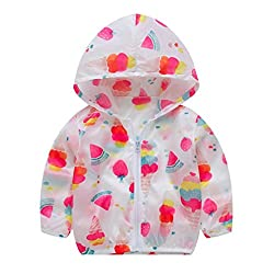 GreatestPAK Toddler Summer Sunscreen Hooded Outerwear, Baby Girls Sun Protection Cute Fruit/Animal/Dot Print Clothing Zip Jackets Kids Boys Clothes Outfit