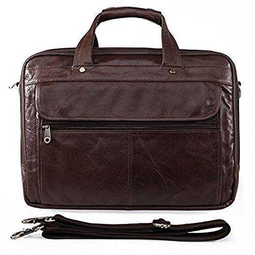 Everdoss Herren echt Rindleder Businesstasche Handtasche Umhängetasche Dunkel Braun