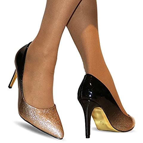Rock on styles Ladies Two Tone Patent Party Evening Mid High Heel Court Shoes Size-5561-1 (UK 4 / EU 37,