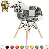 Promo 1 x Fauteuil Design Retro Eiffel Inspiration Eiffel Pieds en Bois Naturel Patchwork Noir Blanc Mobistyl® DAWL-PN-1