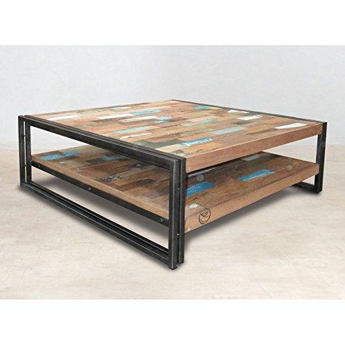 PierImport Table Basse carrée Bois recyclé Double Plateaux 100x100 CARAVELLE