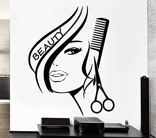 Wand Aufkleber Vinyl Decor Hair Beauty Salon frisiersalons Sexy Girl