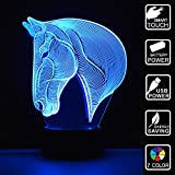 Colorful 3D Illusion Visual Led Night Lights for Kids Touch USB Table Lampara Lamp Baby Sleeping Nightlight (Horse Head)
