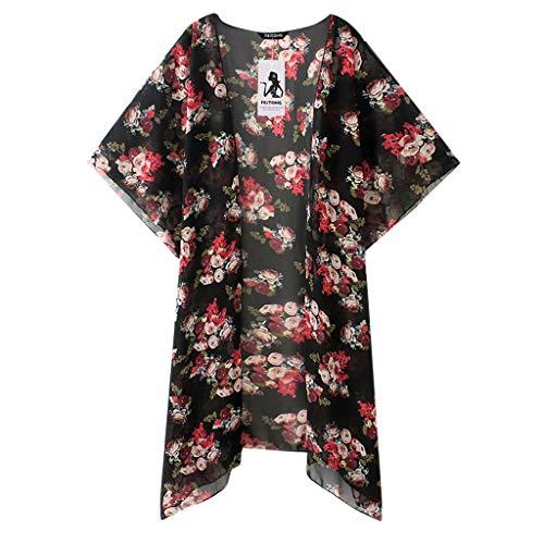 JMETRIC_Strandbluse Feitong 8760 S-5XL Florale Cardigan Strand Chiffon Strickjacke Bluse Tops Bikini Oberteile Cover Up (Schwarz,M)