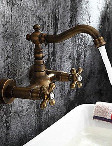 KISSRAIN® Latón antiguo baño grifo del fregadero del lavabo de la mezcla montado en la pared del