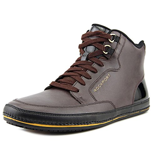 Rockport Harbor Point Mid Cut Hommes Cuir Baskets Chocolat