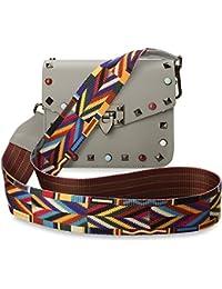 TRENDY italienische Damentasche Schultertasche Umhängetasche bunte Nieten Azteken – Muster vera pelle taupe