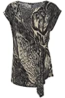 Roman Originals - Women's Animal Printed Side Gathered Top - Party Evening Occasion Top - Ladies Grey Sizes 10-20