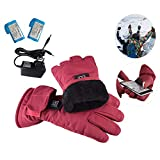 Augproveshak Ladies Heated Gloves Electric Heated Cycling Gloves 3 Heating Setting Battery Heated