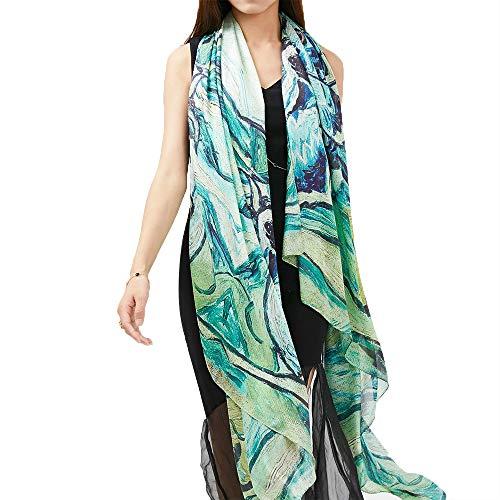 Easy Go Shopping New Damen Schal eingewickelt Seidendruck Sonnencreme Frühling Sommer Strandtuch Schal Abendkleid (Farbe : One Color, Größe : 180 * 140cm) -
