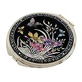 Schminkspiegel mit doppelter Vergrößerung, Perlmutt, Spiegel, für Truccarsi oder Cosmetici Kosmetikspiegel oder Handtasche mit Motiv Orchidee gelb und lila