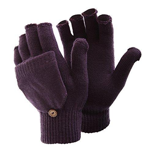 FLOSO® Damen Winter Handschuhe, fingerlos (One Size) (Lila)