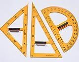 MIMOO Accessoires Pratiques de Papeterie de Bureau Jeu de 3 Outils de règle pour équipement d'enseignement pour Tableau Noir et Tableau Blanc - Jaune
