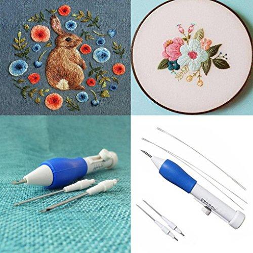 Longra Magie Broderie de stylo Aiguilles de Poinçon de Broderie Craft Tool Punch Aiguille Kits de broderie magique Broderie de couture de stylo en Aiguille Outil de tissage Fantaisie