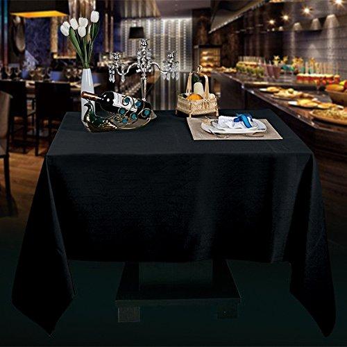 Sterling Mill Seamless acabado poliéster mantel cuadrado para banquetes de comedor para fiestas de Navidad bodas, negro, 90
