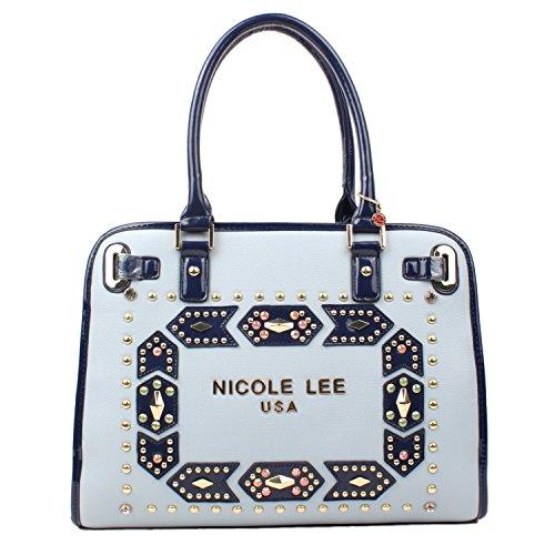 embellished-studded-colorful-design-top-handle-nicole-lee-tote-bag-blue