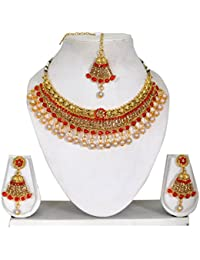Vipin Store Golden & Red Kundan/Stone With White Pearl Gold Plated Jewelery Set