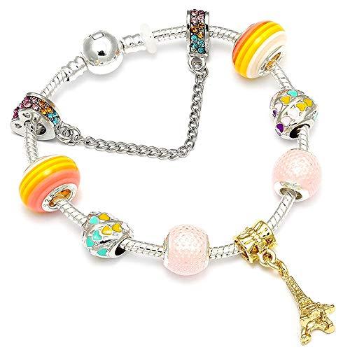 Frlisr bracciali,braccialetto di fascino del pendente della torre eiffel con le perle dell'arcobaleno di amore adatto a colore dei regali dei gioielli delle donne, 20cm