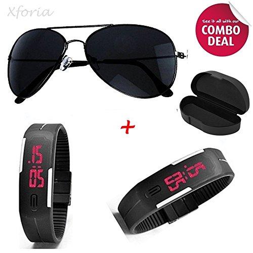 Xforia Men's Aviator Black Sunglasses and Digital Watches Combo Set(Sunglasses & Watch)